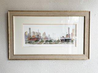 レオナルド ウェーバー  Leonard Weber 横浜 yokohama 35/250 リトグラフ ジグレー 版画 風景画 サイン有 アメリカ 海外作家 ●