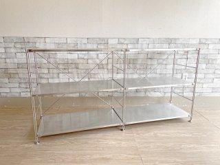 無印良品 MUJI ステンレスユニットシェルフ ステンレス棚 ワイド 2列3段 W167cm オープンシェルフ 収納家具 合計定価¥37,800- ●