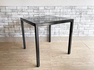 モダンデザイン スクエア ダイニングテーブル ガラス×スチール W75 ブラック ●