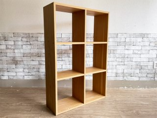 無印良品 MUJI スタッキングシェルフ 2列3段 オーク材 オープンシェルフ 本棚 飾り棚 ●