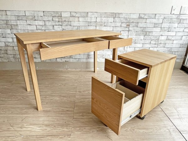 無印良品 MUJI オーク材 パーソナルデスク ワークテーブル 引出し付 フック付 & デスクワゴン セット ナチュラル シンプル 合計定価¥39,800- ●