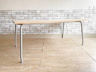 シンプルデザイン Simple Design ワークテーブル ミーティングテーブル メラミントップ × スチールレッグ W160cm 現状品 ●