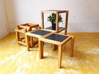 北欧ビンテージ キューブ ネストテーブル スタッキング ミニテーブル 4テーブル オーク材 パズルテーブル ★