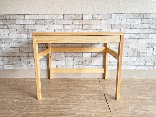 無印良品 MUJI パイン無垢材 パーソナルデスク ワークテーブル 抽斗&フック付 W86cm ナチュラル シンプル ●