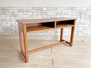 ビンテージスタイル Vintage Style 無垢材 コンソールデスク ワークテーブル 天板下収納付 W120cm ●