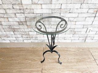 クラシカルスタイル ガラストップ ラウンドテーブル サイドテーブル 花台 鋳造 ロートアイアン アンティーク調 ●