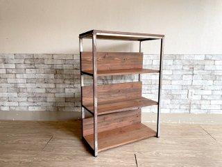 インダストリアルデザイン 木製棚板×スチールフレーム オープンシェルフ 4段 本棚 飾り棚 工業系 ビンテージスタイル 店舗什器 ●