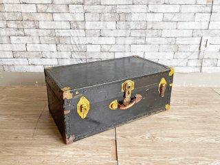 ビンテージ トランクボックス ブラック×ゴールド 革ハンドル vintage 店舗什器 現状品 ●