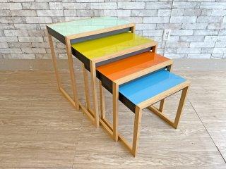 ジョセフ・アルバース Josef Albers ネスティングテーブル Nesting Tables ガラストップ ネストテーブル MoMAデザインストア取り扱い バウハウス 定価\282,480- ●