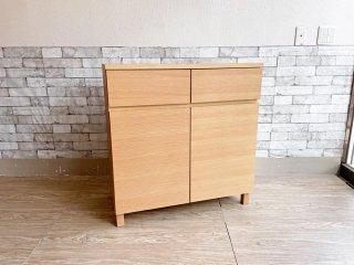 無印良品 MUJI オーク材 キャビネット 木製扉 W80 木製収納 ナチュラル シンプル ●