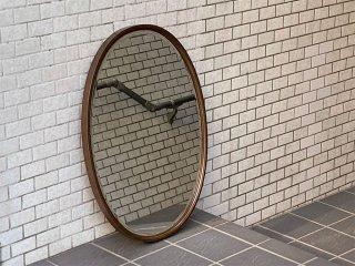 ジャパンビンテージ Japan Vintage 木製フレーム オーバル ウォールミラー 鏡 壁掛け 昭和レトロ ■