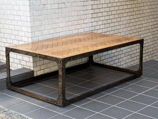 フライミーファクトリー FLYMEe Factory コーヒーテーブル Coffee Table ヘリンボーン アイアンフレーム インダストリアルスタイル ■