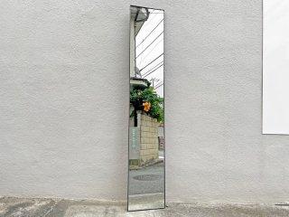 モダンデザイン Modern design ブラックフレーム スリムミラー スチール 姿見 鏡 高さ220cm 大型 立掛け式 店舗什器 ●