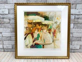 今井 幸子 テラスの女達 リトグラフ 版画 額装品 91/200 ●