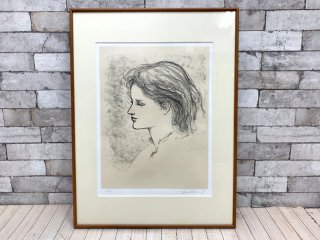 舟越 保武 若い女B リトグラフ 版画 額装品 158/170 彫刻家 ●