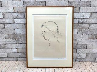 舟越 保武 若い女A リトグラフ 版画 額装品 158/170 彫刻家 ●