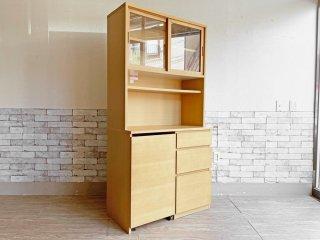 無印良品 MUJI 木製カップボード オーク材 食器棚 キャスターワゴン付 ナチュラルテイスト 定価64,900円 ●