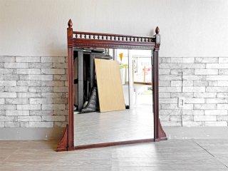 UKビンテージ ウォールミラー 鏡 壁掛け マホガニー 幅約120cm 大型 アンティーク アールデコ 店舗什器 ●