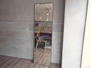 モダンデザイン Modern design ブラック スチールフレーム ミラー 姿見 鏡 高さ200cm 大型 立掛け式 店舗什器 ♪