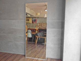 モダンデザイン Modern design ホワイト スチールフレーム ミラー 姿見 鏡 高さ200cm 大型 立掛け式 店舗什器 ♪