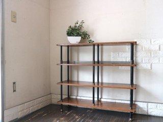 UKビンテージ UK VIntage オープンシェルフ 木製天板×スチールフレーム 本棚 飾り棚 インダストリアル ◎
