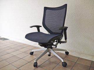 オカムラ okamura バロンチェア Baron Chair オフィスチェア デスクチェア メッシュ背もたれ×メッシュ座面 ネイビー ジョルジェット・ジウジアーロ ◇
