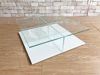 カッシーナ Cassina メックス MEX ローテーブル ガラステーブル 269-01/11 スクエアタイプ ホワイト ピエロリッソーニ 定価¥192,000- ●