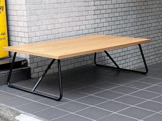 無印良品 MUJI 折りたたみローテーブル スチール脚 センターテーブル オーク材 W120cm ナチュラル シンプル ■