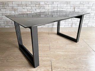 モダンデザイン ダイニングテーブル ガラス天板 W150 スモークガラス ×アッシュ材 ブラック ●