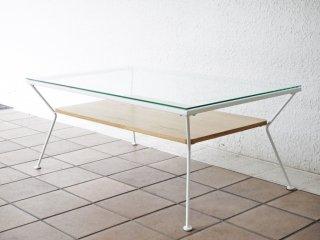 フランフラン Francfranc メリオル コーヒーテーブル ローテーブル Lサイズ 幅90 ホワイト ガラス×アイアン  ◇