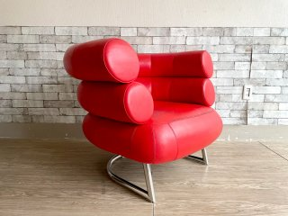 アイリーングレイ Eileen Gray ビべンダム チェア  Bibendum Chair ラウンジチェア 1人掛けソファ 本革 クロームレッグ レッド リプロダクト ●