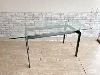 ル・コルビジェ Le Corbusier LC6 ダイニングテーブル クリアガラス w160cm モダンデザイン リプロダクト品 ●
