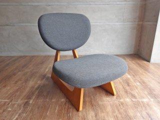 天童木工 TENDO 低座椅子 ローチェア 座椅子 長大作 デザイン グレー ナラ柾目 和モダン ♪