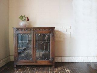 イギリス アンティーク ブックケース 英国 ガラス キャビネット 本棚 オーク材 飾り棚 UK ◎