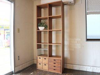 無印良品 MUJI スタッキングシェルフ 2列5段 ウォールナット材 オープンシェルフ 本棚 飾り棚 抽斗付 ◎