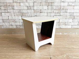 ビンテージスタイル Vintage Style メラミン サイドテーブル ホワイト × ブラウン ツートンカラー W44cm レトロ  ●