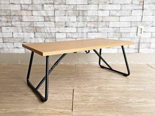 無印良品 MUJI 折りたたみローテーブル オーク材 × スチール脚 W90cm ナチュラル シンプルデザイン 定価¥15,900- ●