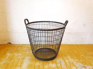 ビンテージ ワイヤー ラウンド バスケット ランドリーボックス アイアン 直径52cm ★