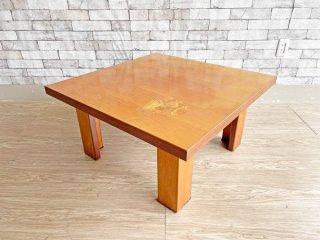 モダンスタイル Modern Style 象嵌 ローテーブル センターテーブル スクエア 80×80cm インレイ 植物 ボタニカル  ●