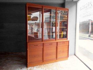ジャパンビンテージ Japan Vintage カップボード チーク材 食器棚 3枚扉 開き戸 北欧スタイル ♪