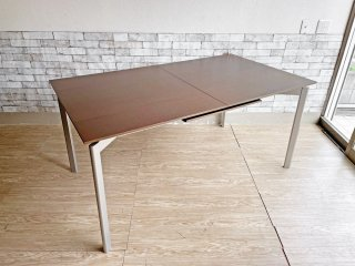 カリガリス calligaris エクステンションテーブル 伸長式 EX ダイニングテーブル W160-205cm ウォールナットカラー × スチール脚 イタリア モダン ●
