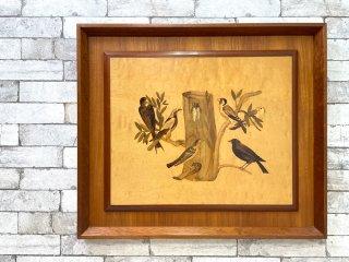 木象嵌 壁掛け飾り ウォールデコ 額装 72×62cm 鳥×植物×昆虫  サイン有り ●