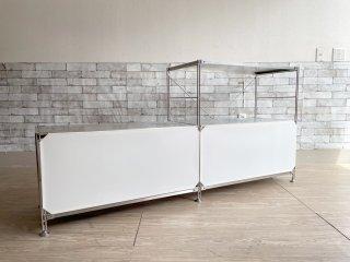 無印良品 MUJI ステンレスユニットシェルフ ワイド 2列3段 W167cm オープンシェルフ フロントスクリーン 収納家具 定価¥32,460〜 ●