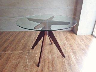 イーアンドワイ E&Y ペガサス ラウンドテーブル PEGASUS ROUND TABLE ダークブラウン ガラス×プライウッド アレックス・マクドナルド Alex Macdonald ♪