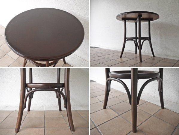 ヴィンテージ Vintage ベントウッド カフェテーブル ラウンドテーブル ダークブラウン 曲木 チェコ ◇