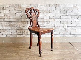 UKアンティーク Antique マホガニー材 ホールチェア サロンチェア ヴィクトリアン様式 英国家具 A ●
