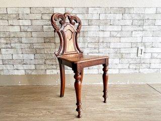UKアンティーク Antique マホガニー材 ホールチェア サロンチェア ヴィクトリアン様式 英国家具 B ●