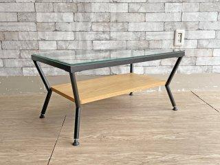 フランフラン Francfranc メリオル コーヒーテーブル ローテーブル Mサイズ W75cm ブラック × ブラウン ガラス天板 アイアンフレーム 生産終了品 ●