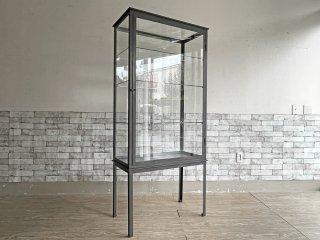 ビンテージスタイル Vintage Style ガラスキャビネット ショーケース アイアンフレーム H170cm 棚板3枚 可動式 店舗什器 インダストリアル 工業系 ●