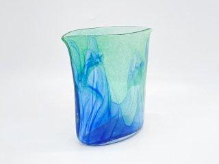 ビンテージ vintage ガラス フラワーベース グリーン & ブルー ●